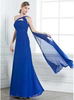 A-Line/Princess One-Shoulder Floor-Length Chiffon Bridesmaid Dress With Ruffle Beading (007004158)