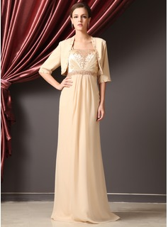 A-Line/Princess Strapless Floor-Length Chiffon Charmeuse Mother of the Bride Dress With Ruffle Beading (008014248)
