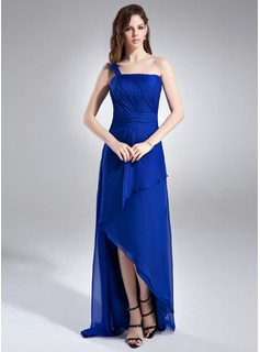 A-Line/Princess One-Shoulder Asymmetrical Chiffon Bridesmaid Dress With Ruffle (020015935)
