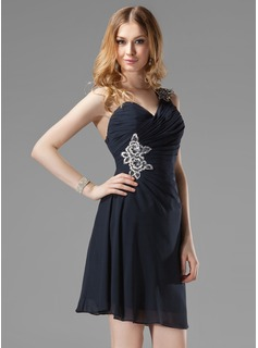 Sheath One-Shoulder Short/Mini Chiffon Cocktail Dress With Ruffle Beading Appliques Sequins (016003019)