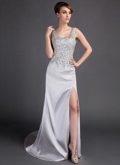Corte A/Princesa Escote redondo Tren de la corte Charmeuse Vestido de baile de promoción con Encaje Bordado Apertura frontal