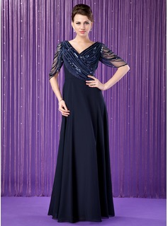 A-Line/Princess V-neck Floor-Length Chiffon Mother of the Bride Dress With Ruffle Beading Sequins