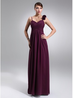 Empire Sweetheart Floor-Length Chiffon Maternity Bridesmaid Dress With Ruffle Flower(s) (045022464)