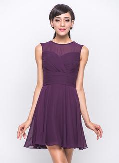 A-Line/Princess Scoop Neck Short/Mini Chiffon Bridesmaid Dress With Ruffle