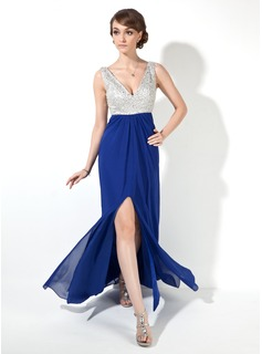 Sheath V-neck Floor-Length Chiffon Prom Dress With Beading Sequins