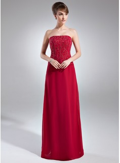 Sheath Strapless Floor-Length Chiffon Mother of the Bride Dress With Embroidered Beading (008005748)