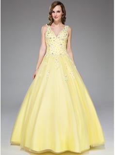 Ball-Gown V-neck Floor-Length Satin Tulle Prom Dress With Lace Beading Sequins