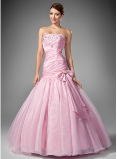 Mermaid Strapless Floor-Length Taffeta Organza Prom Dress With Ruffle Beading Sequins (018004953)
