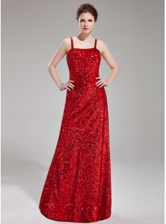 Sheath/Column Sweetheart Floor-Length Sequined Prom Dress
