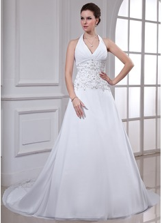 Corte A/Princesa Cabestro La capilla de tren Chifón Vestido de novia con Bordado Bordado Lentejuelas