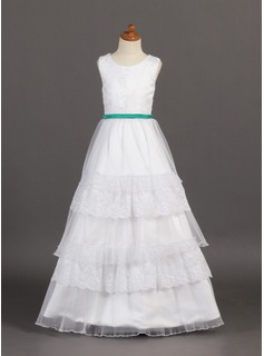 A-Line/Princess Scoop Neck Floor-Length Organza Satin Lace Flower Girl Dress With Sash Cascading Ruffles