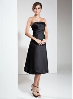 A-Line/Princess Strapless Knee-Length Satin Little Black Dress With Ruffle