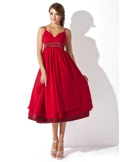 Empire Sweetheart Knee-Length Chiffon Charmeuse Maternity Bridesmaid Dress With Ruffle (045004378)