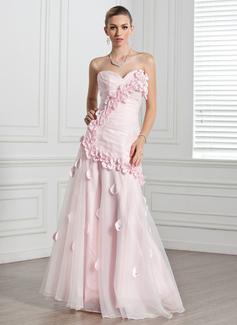 A-Linie/Princess-Linie Herzausschnitt Bodenlang Organza Abendkleid mit Rüschen Blumen