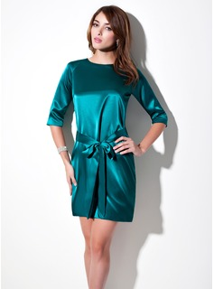 Sheath Scoop Neck Short/Mini Charmeuse Kate Middleton Style With Sash (044007574)