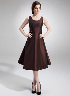 Vestidos princesa/ Formato A Decote redondo Coquetel Tafetá Vestido para a mãe da noiva com Bordado