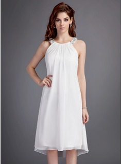 A-Line/Princess Scoop Neck Asymmetrical Chiffon Homecoming Dress With Ruffle Beading Sequins (022010466)