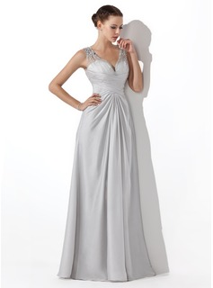 A-Line/Princess V-neck Floor-Length Tulle Charmeuse Prom Dress With Ruffle Beading (018004815)
