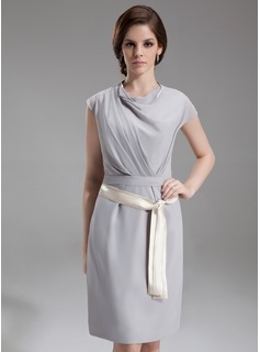 Sheath Cowl Neck Knee-Length Chiffon Kate Middleton Style With Ruffle Sash (044007573)