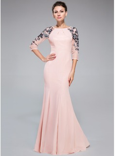 Trumpet/Mermaid Scoop Neck Floor-Length Chiffon Evening Dress With Ruffle Sequins