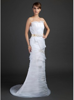 Sheath/Column Scalloped Neck Sweep Train Organza Satin Wedding Dress With Lace Sashes (002015361)