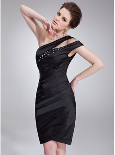 Sheath/Column One-Shoulder Knee-Length Charmeuse Cocktail Dress With Ruffle Beading Sequins