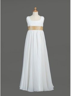 Empire Scoop Neck Floor-Length Chiffon Flower Girl Dress With Sash