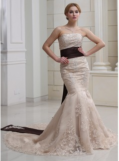 Trumpet/Mermaid Strapless Chapel Train Satin Wedding Dress With Sash Beading Appliques Lace Sequins