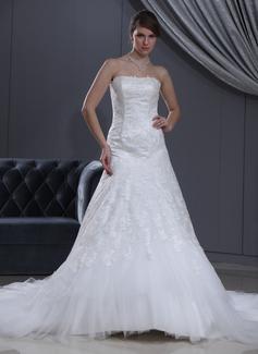 Vestidos princesa/ Formato A Coração Cauda longa Tule Vestido de noiva com Renda Bordado