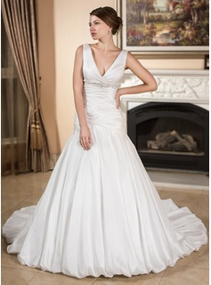 A-Line/Princess V-neck Chapel Train Taffeta Wedding Dress With Ruffle Beading