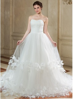 Ball-Gown Sweetheart Chapel Train Tulle Wedding Dress With Ruffle Flower