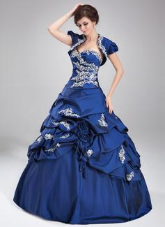 Corte de baile Escote corazón Vestido Tafetán Vestido de quinceañera con Volantes Encaje Bordado Lentejuelas