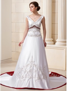 A-Line/Princess V-neck Chapel Train Satin Wedding Dress With Beading Sequins