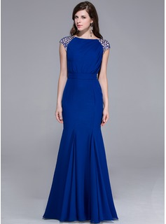Mermaid Scoop Neck Floor-Length Chiffon Evening Dress With Beading
