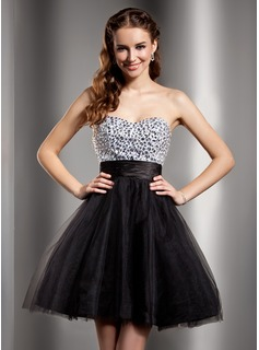 Empire Sweetheart Short/Mini Charmeuse Tulle Homecoming Dress With Beading