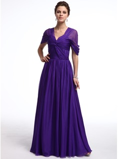 A-Line/Princess Off-the-Shoulder Floor-Length Chiffon Evening Dress With Ruffle (017025323)