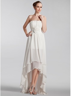 A-Line/Princess Strapless Asymmetrical Chiffon Wedding Dress With Ruffle Flower(s) (002024297)