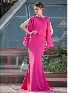 Mermaid Scoop Neck Sweep Train Chiffon Mother of the Bride Dress With Beading (008018972)