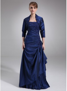 A-Line/Princess Strapless Floor-Length Taffeta Mother of the Bride Dress With Ruffle Lace Beading Sequins (008006462)
