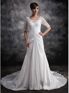 A-Line/Princess V-neck Court Train Taffeta Wedding Dress With Ruffle Lace Beadwork (002012919)