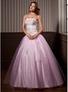 Ball-Gown Strapless Floor-Length Satin Tulle Quinceanera Dress With Ruffle Beading Sequins (021004579)