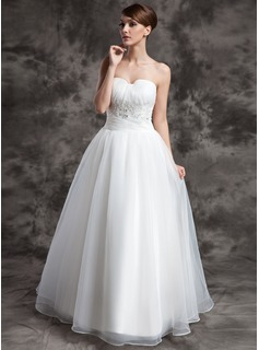 Ball-Gown Sweetheart Floor-Length Organza Wedding Dress With Ruffle Lace Beadwork (002024075)