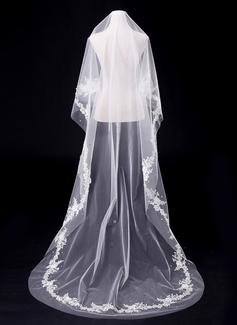 Uno capa Velos de novia catedral con Corte de borde