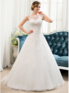 Ball-Gown Scoop Neck Sweep Train Organza Tulle Lace Wedding Dress With Beading Sequins