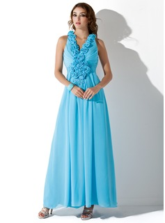 A-Line/Princess V-neck Ankle-Length Chiffon Prom Dress With Ruffle Beading Appliques Lace Flower(s) Sequins