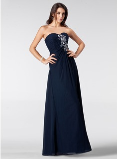 Sheath Sweetheart Floor-Length Chiffon Prom Dress With Ruffle Beading (018005211)