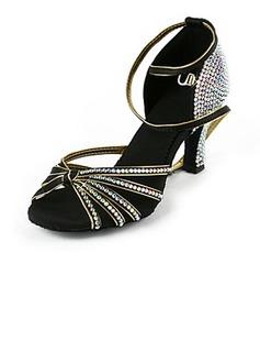 De mujer Satén Tacones Danza latina Sala de Baile Matrimonio Partido con Rhinestone Tira de tobillo Zapatos de danza
