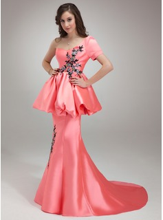Mermaid One-Shoulder Court Train Satin Prom Dress With Beading Appliques Sequins