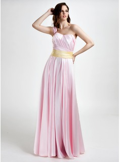 A-Line/Princess One-Shoulder Floor-Length Satin Bridesmaid Dress With Ruffle Sash (020015796)