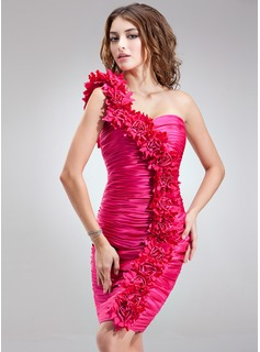 Sheath/Column One-Shoulder Knee-Length Charmeuse Cocktail Dress With Ruffle Flower(s)